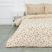 Комплект постельного белья Евро бязь Розовые бутоны бежевый Трехгорная мануфактура