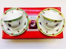 Набор чайных пар детский костяной фарфор Алиса с зелёным и жёлтым кантом Maebata Япония