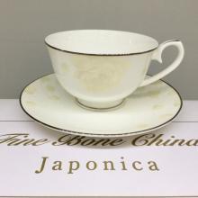 Набор чайных пар на 6 персон костяной фарфор Бежевая роза Japonica Япония