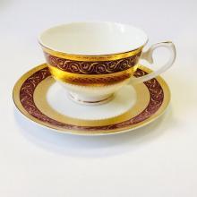 Набор чайных пар на 6 персон костяной фарфор Королевский рубин Japonica Япония