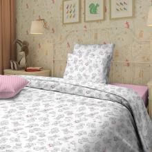 Комплект постельного белья для малышей перкаль Тедди розовый Трехгорная мануфактура