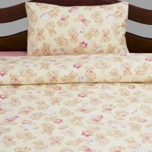 Комплект постельного белья для малышей перкаль Тедди бежево-розовый Трехгорная мануфактура