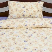 Комплект постельного белья для малышей перкаль Тедди бежево-голубой Трехгорная мануфактура