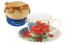Чашка с блюдцем Натюрморт с красными маками и ромашками (Ван Гог), в подарочной упаковке