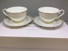 Набор чайных пар на 6 персон костяной фарфор Голубая лесенка Japonica Япония
