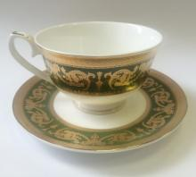 Набор чайных пар на 6 персон костяной фарфор Малахит Japonica Япония