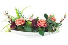 Декоративные цветы Розы светло-бордовые на керам подставке